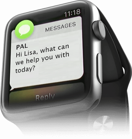 Chat-text from a smart watch